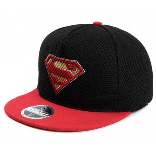 Gorra Plana Superman Negra visera roja