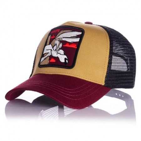 Gorra visera curva trucker Looney Tunes Coyote marron
