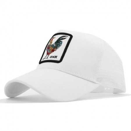 Gorra visera curva trucker Animal Gallo blanca
