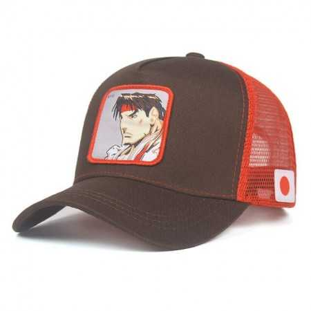 Gorra visera curva trucker Street Fighter Ryu marron y rojo