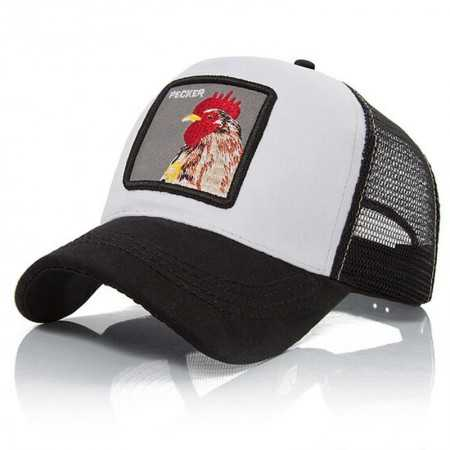 gorra visera curva trucker Animal Gallo blanca y negra