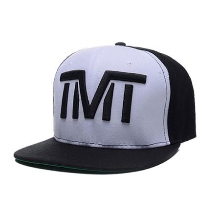 Gorra plana TMT negra frente blanco